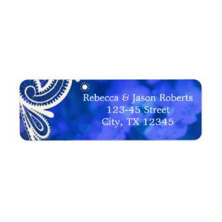 Beautiful elegant blue flowers white lace design return address label