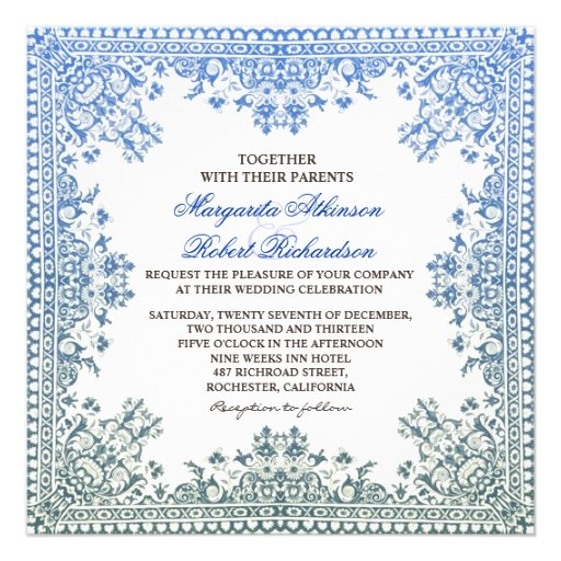beautiful elegant blue frame wedding invites