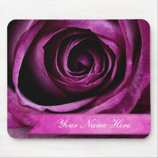 Beautiful Elegant Dramatic Purple Rose with Ribbon Mouse Pad