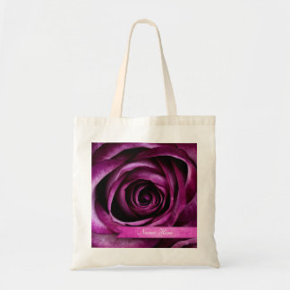 Beautiful Elegant Dramatic Purple Rose with Ribbon Tote Bag