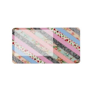 Beautiful elegant  fabric patterns stripes address label