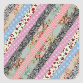 Beautiful elegant  fabric patterns stripes stitch square sticker