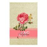 Beautiful  elegant girly monogram vintage roses stationery paper