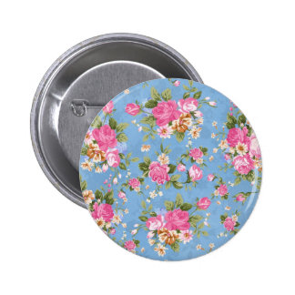 Beautiful elegant girly vintage roses flowers 6 cm round badge