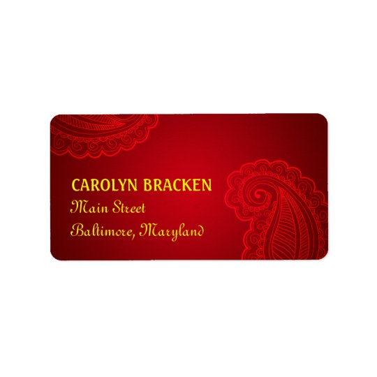 Beautiful Elegant Paisley Floral Design Address Label