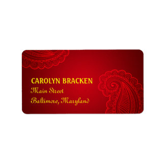 Beautiful Elegant Paisley Floral Design Label