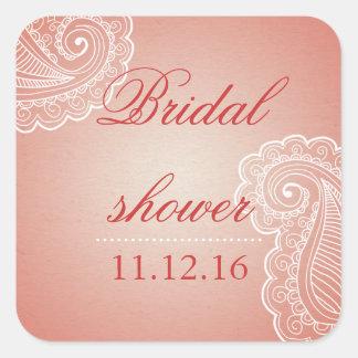 Beautiful Elegant Pink Paisley Bridal Shower Favor Square Sticker