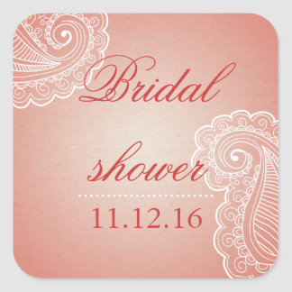Beautiful Elegant Pink Paisley Bridal Shower Favor Square Sticker