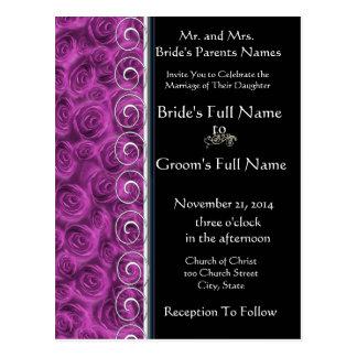 Beautiful Elegant Purple Roses Wedding Invitation Postcard