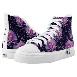 beautiful elegant stylish flower | purple rose printed shoes