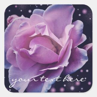 beautiful elegant stylish flower   purple rose square sticker