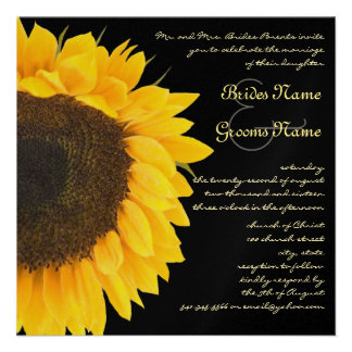 Beautiful Elegant Sunflower Wedding Invitation