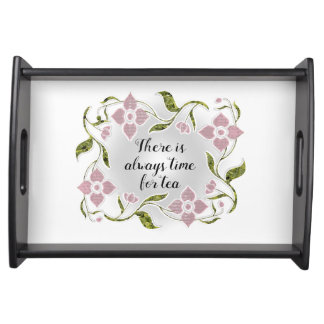 Beautiful Elegant Tea Time Pink Flowers and Vines Serving Tray