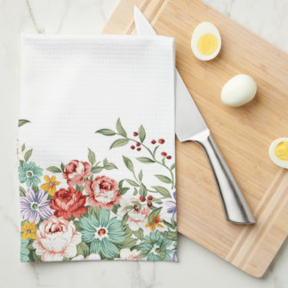 Beautiful elegant vintage spring floral bouquets hand towel