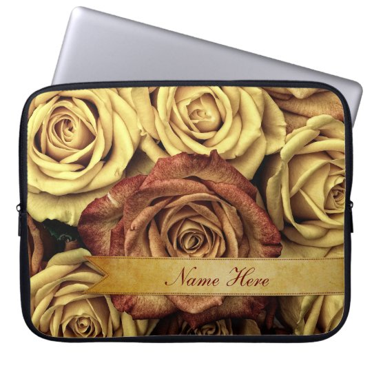 Beautiful Elegant Vintage Yellow Roses with Ribbon Laptop Sleeve