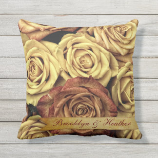 Beautiful Elegant Vintage Yellow Roses with Ribbon Throw Pillow
