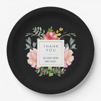Beautiful Elegant Watercolor Peonies on Black Paper Plate