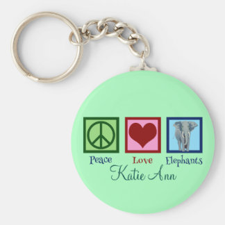 Beautiful Elephant Custom Mint Green Key Ring