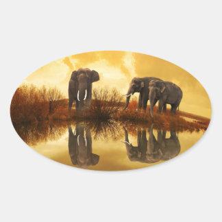 beautiful elephant Thailand sunset Oval Sticker