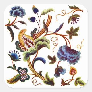 Beautiful Elizabethan Jacobean Embroidery Square Sticker