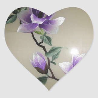 Beautiful Embroidery Flowers Heart Sticker
