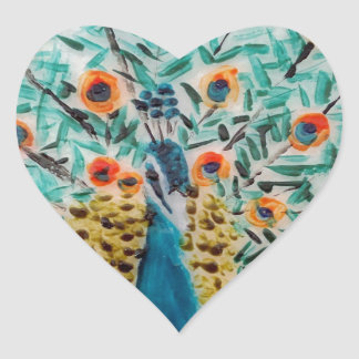Beautiful Emerald Green and Turquoise Peacock Heart Sticker