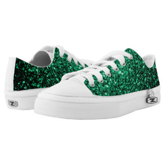 Beautiful Emerald Green glitter sparkles Low Tops