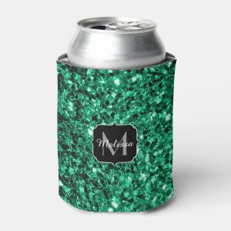 Beautiful Emerald Green glitter sparkles Monogram Can Cooler