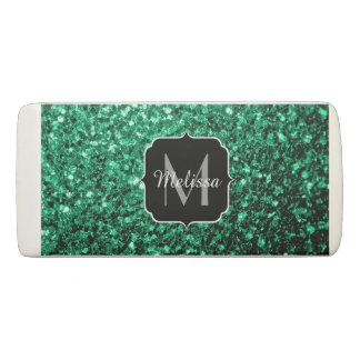 Beautiful Emerald Green glitter sparkles Monogram Eraser
