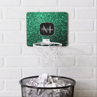 Beautiful Emerald Green glitter sparkles Monogram Mini Basketball Hoop