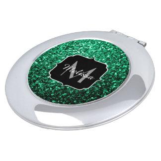 Beautiful Emerald Green glitter sparkles Monogram Mirror For Makeup