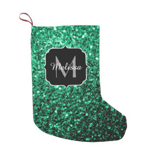 Beautiful Emerald Green glitter sparkles Monogram Small Christmas Stocking