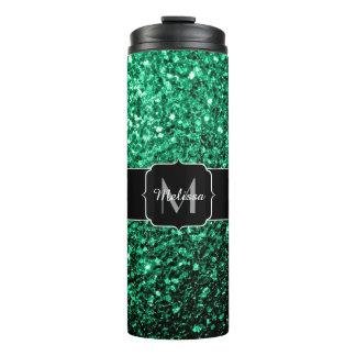 Beautiful Emerald Green glitter sparkles Monogram Thermal Tumbler