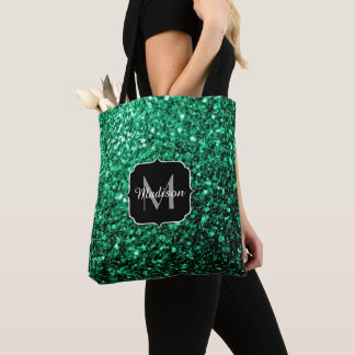 Beautiful Emerald Green glitter sparkles Monogram Tote Bag