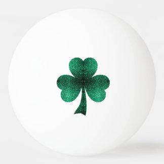 Beautiful Emerald Green Sparkles Shamrock Clover Ping Pong Ball