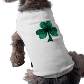 Beautiful Emerald Green Sparkles Shamrock Clover Sleeveless Dog Shirt