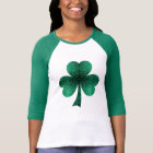 Beautiful Emerald Green Sparkles Shamrock Clover T-Shirt