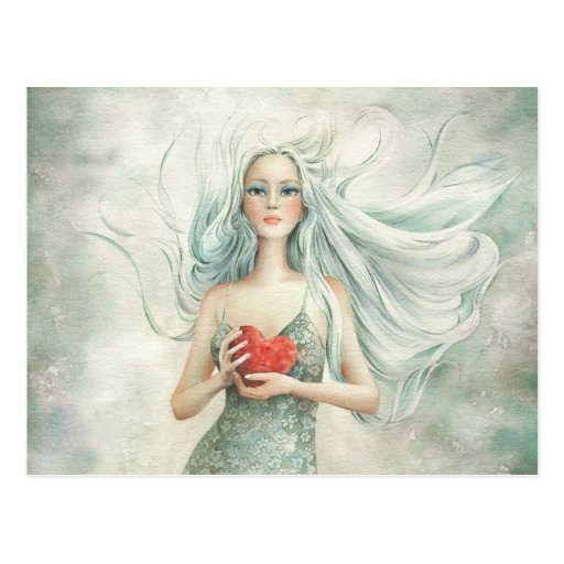 Beautiful Ethereal Figure and Heart Post Card