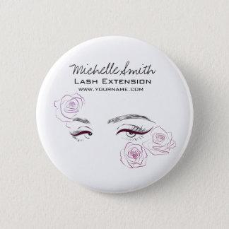 Beautiful eyes Long lashes Roses Lash Extension 6 Cm Round Badge