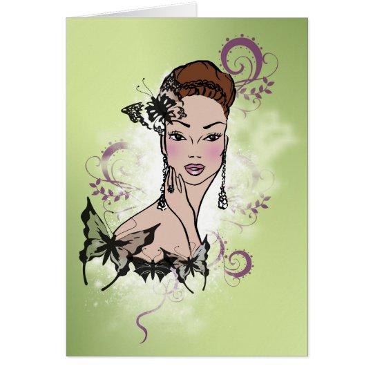 Beautiful Face Fashion Illustration Card