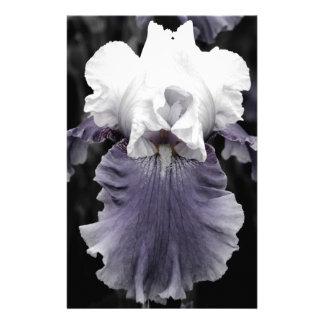 Beautiful faded purple iris print custom stationery