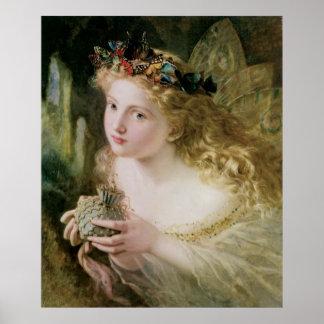 Beautiful Fairy Butterflies, Vintage Victorian Art Poster