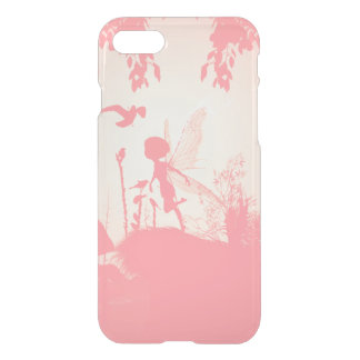 Beautiful fairy silhouette in pink with birds iPhone 7 case