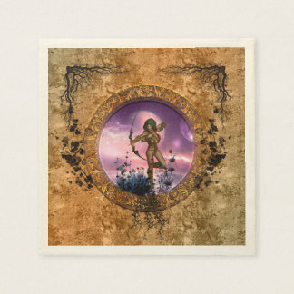 Beautiful fairy with arrow and bow disposable serviettes