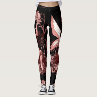 Beautiful Fairy with Flowers Illustration Leggings