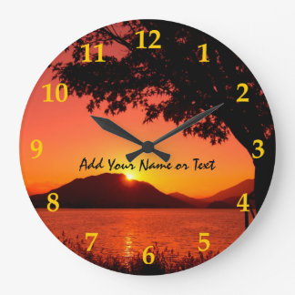 Beautiful Fall Orange Yellow Sunset Lake Mountain Large Clock
