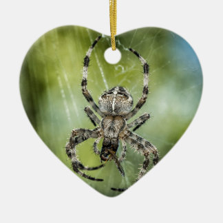 Beautiful Falling Spider on Web Ceramic Heart Decoration