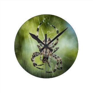 Beautiful Falling Spider on Web Round Clock