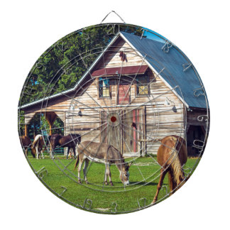 Beautiful Farm Scene with Horses and Barn Dartboard