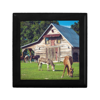 Beautiful Farm Scene with Horses and Barn Gift Box